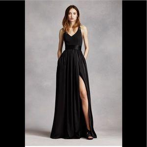 Vera Wang V Neck Halter Dress with Sash